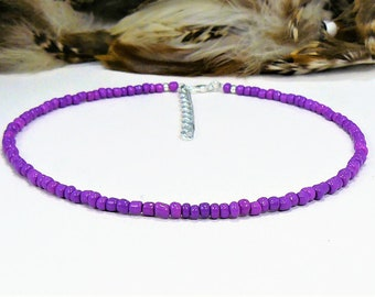 Purple Beaded Choker, Seed Bead Choker, Choker Necklace, Seed Bead Necklace, Boho Chic Choker, Purple Choker Necklace, Beach Choker, Chokers