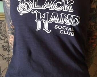 Black Hand Social Club Tank Top Girls Tattoo Fashion Motiv4 Size XS NAVY-BLUE