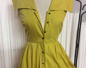 Bright yellow sailor - style cotton summer dress