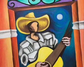 "18""x24"" Original Oil Painting on Stretched Canvas. Miguez Cuban Art. Guajiro Colonial. READY TO HANG. Music, Guitar"