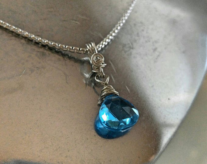 Swiss blue Topaz pendant necklace on a Argentium silver chain. December birthday.Handmade jewelry