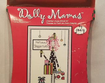 Janlynn Dolly Mamas Christmas Holiday Shopportunist Counted Cross Stitch Kit, Christmas Cross Stitch, Holiday Shopper, Packages, by Joey Inc