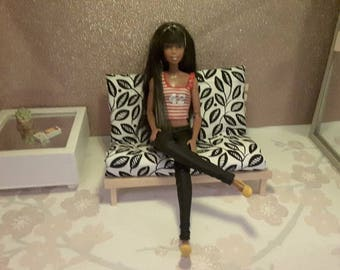 1 6 scale barbie doll size futon bed for dolls futon   etsy  rh   etsy