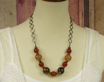 "Spiderweb Agate, Carnelian, and Pyrite Necklace - Adjustable 24-26"" Long - Gemstone Bohemian Statement Necklace, Sundance Style Jewelry"