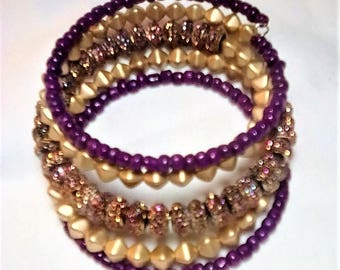 Sparkly Memory Wire Cuff, Glittery Bling Bracelet, Statement Bracelet, Boho Wrap