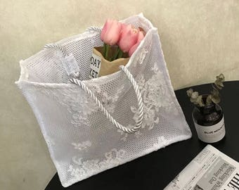 Handmade lace tote bag for wedding, banquet, cocktail party