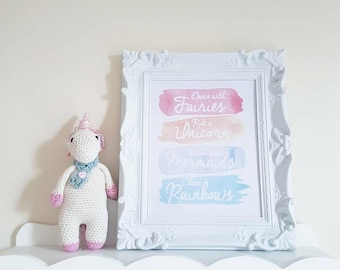 Crochet Unicorn and Fairytale Quote Framed Print. Swim with the Mermaids