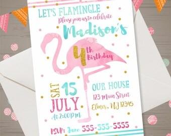 FLAMINGO Birthday Invitation Let's Flamingle Invitation Flamingo Invitation Summer Birthday Party Luau Pool Party Flamingo Party Watercolor