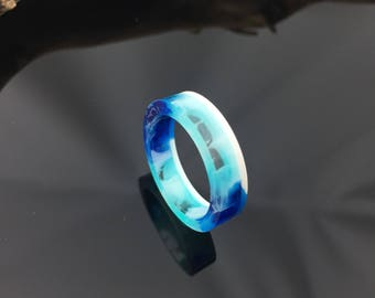 Blue resin ring jewelery/artistic unique resin ring Blue Ocean beach/gift idea/present/gift for you/epoxy resin/Epoxy