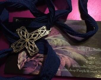 Cross Silk Wrap Bracelet