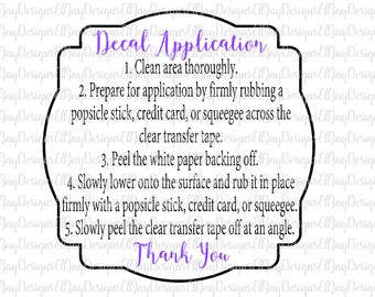 Decal application instruction card svg cut file, digital printable instructions, decal directions file, printable cut file silhouette cricut