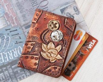 Credit card holder - Slim wallet women - Business card case - Front pocket wallet  Business card holder  Minimalist steampunk wallet leather