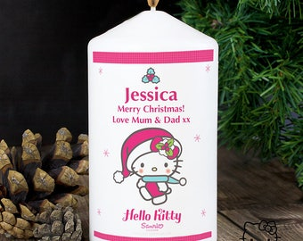 Personalised Hello Kitty Pink Christmas Candle Gifts Ideas For Her Girls Women Birthday Mothers day Christening New Born Baby