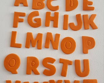 26pc Die Cut Alphabet Letters In Orange Foam Stickers For Scrapbooking Collage Art Journaling, Crafting, Decoupage, Kids Crafts
