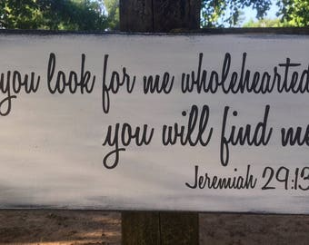 Jeremiah 29:13 scripture wood sign