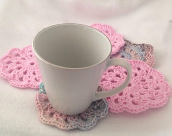 Doily Coasters, pink and earth tone coasters, flower coasters, set of 6 coasters