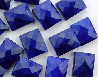 25 pieces lot natural lapis lazuli octagon shape checker cut loose gemstone for jewelry