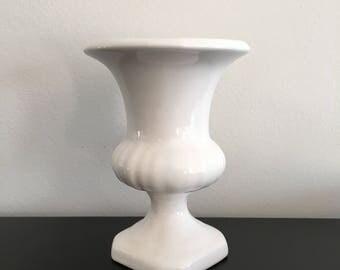Vintage, White Classical Vase, Urn Shaped Vase, White, Home Decor,Pedestal Vase,White,Classical Vase,Trumpet Shaped Vase, Ceramic White Vase