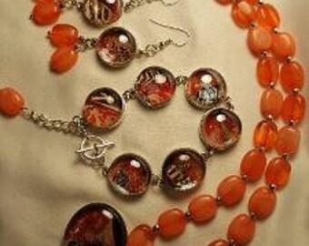 Coral & Zebra Print Necklace Set