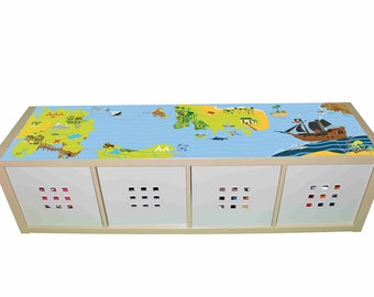 Pirate treasure island– Kids room furniture sticker – Ikea hack Kallax sticker for play tables/storage. - Furniture not included.