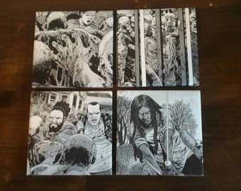 The Walking Dead coasters/The Walking Dead ceramic coasters/coaster set/Michone/Zombie gift/ TWD gift