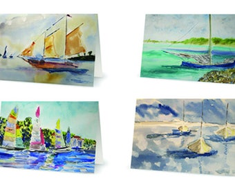 Set of 4 Nautical Greeting Cards Featuring Original Watercolors by Stephen Parulski