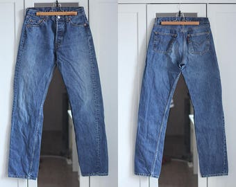 Levi's 501 Vintage Jeans High Waisted Dark Blue Denim Men Women unisex Trousers Retro 1990s clothing / W30 L34 / Medium size