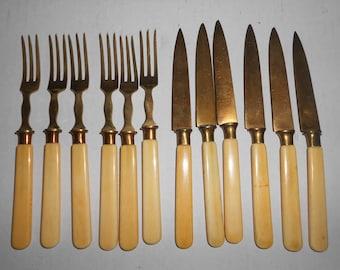 German knives and Bronze forks vintage