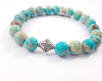 Blue Pearl bracelet and metal