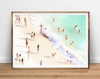 Aerial Beach Photo People on Beach Digital Print Beach Photography People Beach Art Printable Poster, Digital Print, Digital Download, Water