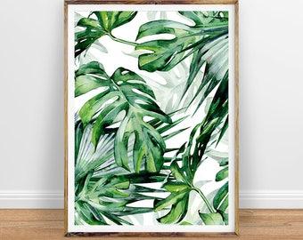 Monstera Leaf Print, Tropical Palm Leaves Print, Tropical Wall Decor, Tropical Print, Monstera Leaves Print, Palm Leaves Print, Large Leaves
