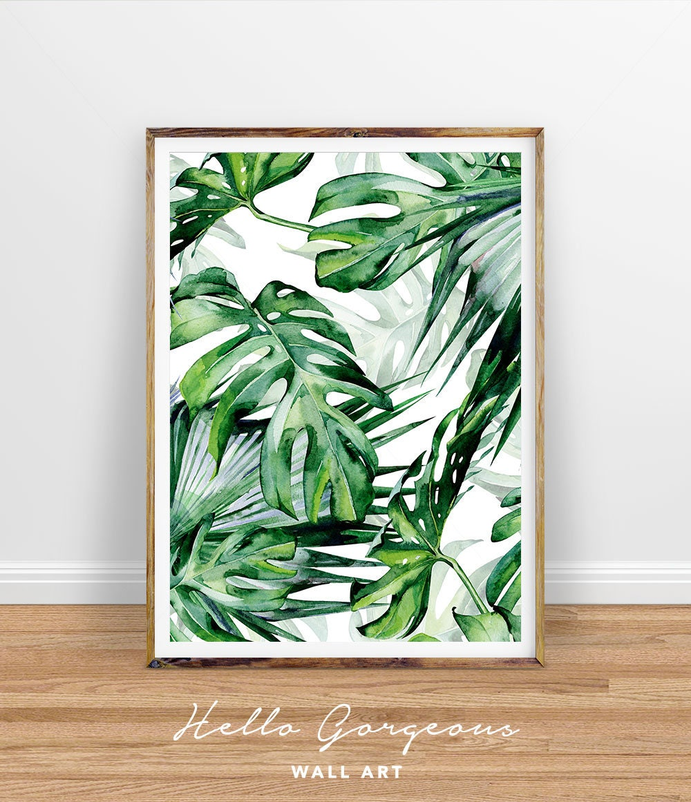 Monstera leaf print tropical palm leaves print tropical wall for Leaf wall decor