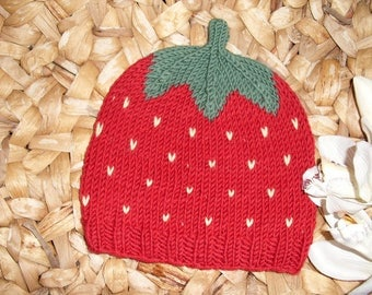 Strawberry Cap-Baby and children's cap from 100% merino wool-in many sizes-hand knitted