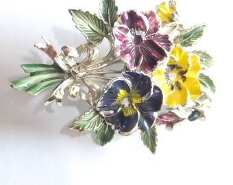 Beautiful large 1950s Exquisite pansy brooch