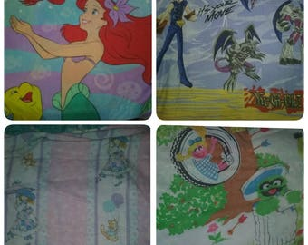 80s 90s vintage sheets, CHOOSE ONE; little mermaid, yughio, holly hobby, sesame st