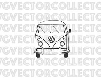 Volkswagen Microbus Bus, SVG DXF EPS Png, Instant Download