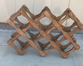 Collapsible wine rack, vintage wine rack, wood wine rack, 10 bottle wine rack