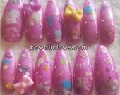 Kiki & Lala Twin Stars Gel Nail Art Pastel Glitter Press on false fake nails