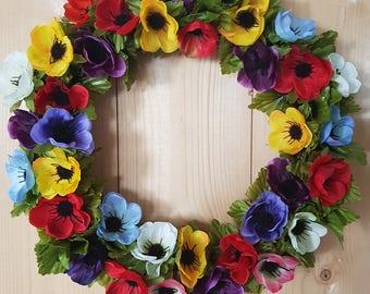 SUMMER ANEMONES, wreath, floral, flowers, decor, door decor, plaque, gift, decoration