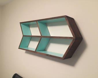 Double Chevron Shelf, Floating Wall Shelf, Wall Hanger Geometric Nursery Shelf