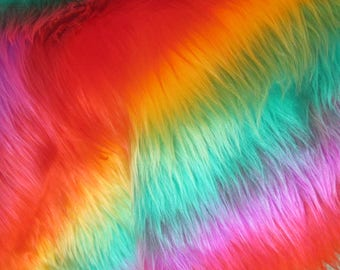 "Rainbow Faux Fur 19.7"", Long Pile Faux Fur Fabric Craft"
