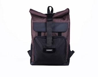Men's Backpack,Waxed Canvas Backpack,Canvas Rucksack,Rolltop Backpack,Brown Backpack,Laptop Backpack,Roll top Backpack,Waterproof Backpack