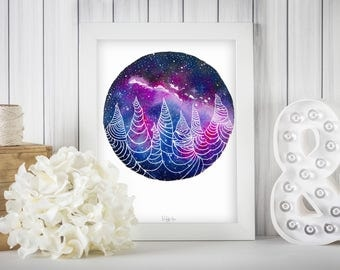 Mountain Pillars of 7, Home Decor, Pillars, Blue, Purple, Galaxy, Galaxy Art, Universe