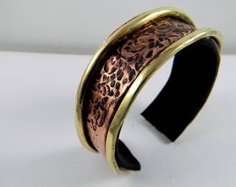 copper cuff bracelet, copper, brass, leather, ethnic bracelet contemporary jewelry, designer jewelry, women bracelet.