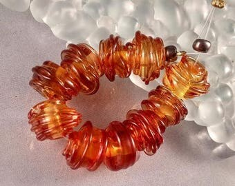 CALIENTE ART GLASS - Glowing Ember tornado lampwork spacer beads - sra