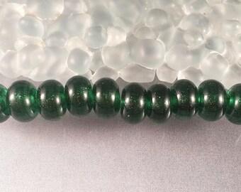 Caliente Art Glass - SPARKLING EMERALD lampwork SRA