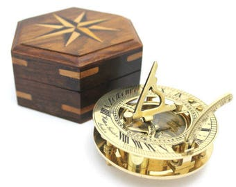 Brass Pocket Sundial With Wooden Box- High Quality product- HATTON GARDEN