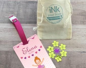 Personalized ballet id backpack tag, custom name tag, school name tag, custom backpack tag, personalized tag, girl tag, ballerina bag tag