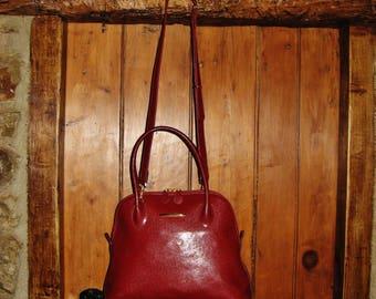 "A Very Good Vintage French ""Texier"" Burgundy Red Leather Bag/ Shoulder Bag/ Cross Body Bag"