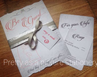 Beauty and the beast theme wedding invitations be our guest